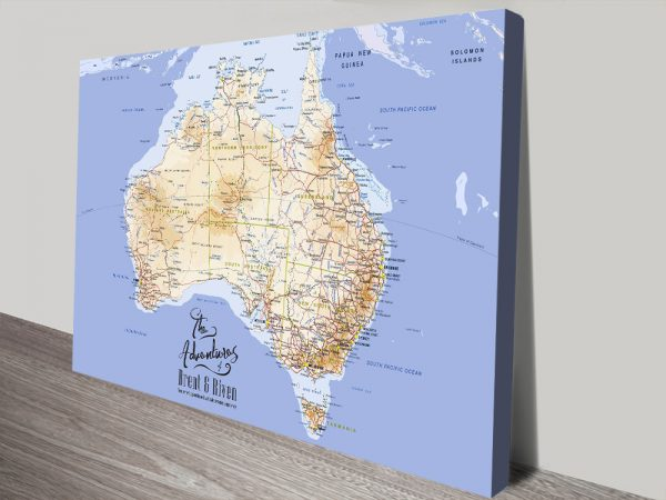 Personalised Australia Push Pin Map Wall Art
