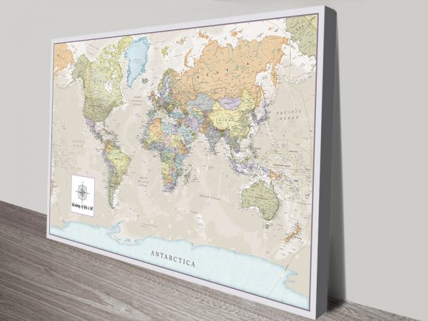 Pathfinder World Map canvas print with pins
