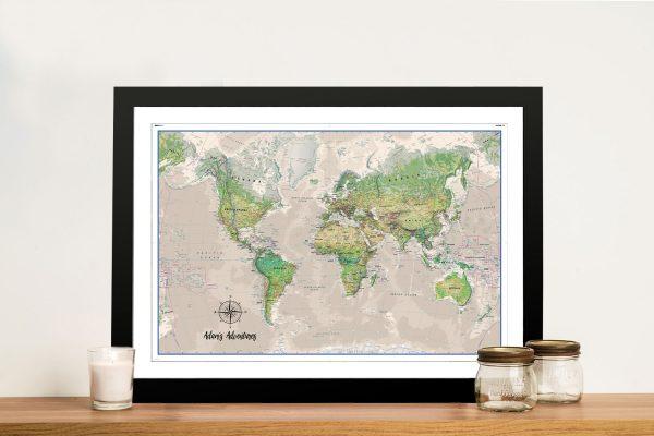 Poseidon Push Pin World-Map Framed Wall Art Picture