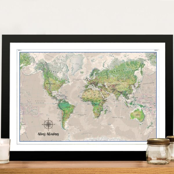 Poseidon Push Pin World-Map Framed Wall Art Picture
