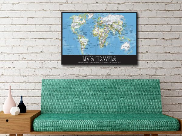 Buy Custom World Map PushPin Wall Art