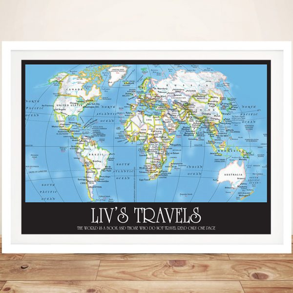 Buy Personalised Wayfarer World Map with Push Pins