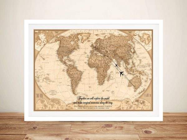 Personalized Push Pin World Map Typographic Wall Art