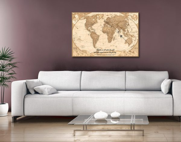 Personalized Push Pin World Map with Words