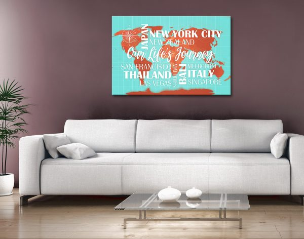 Custom Map with Words Canvas Artwork Australia