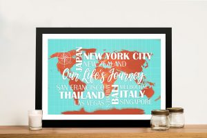 Turquoise and Orange Map with Words