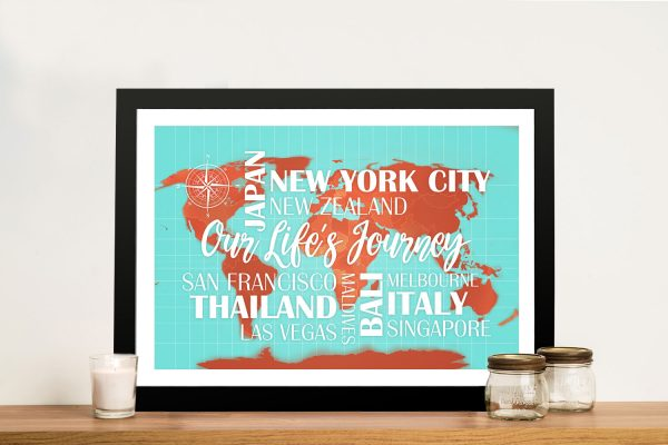 Custom Turquoise and Orange Map with Words and Free Push Pins
