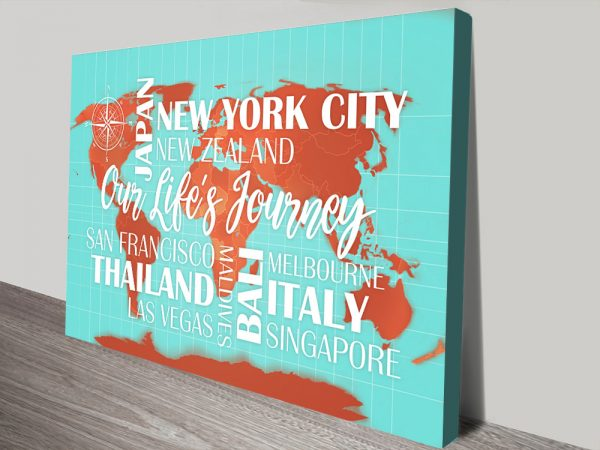 Custom Turquoise and Orange Map with Words Canvas Art