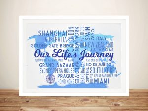 Sky Blue Push Pin Map with Words