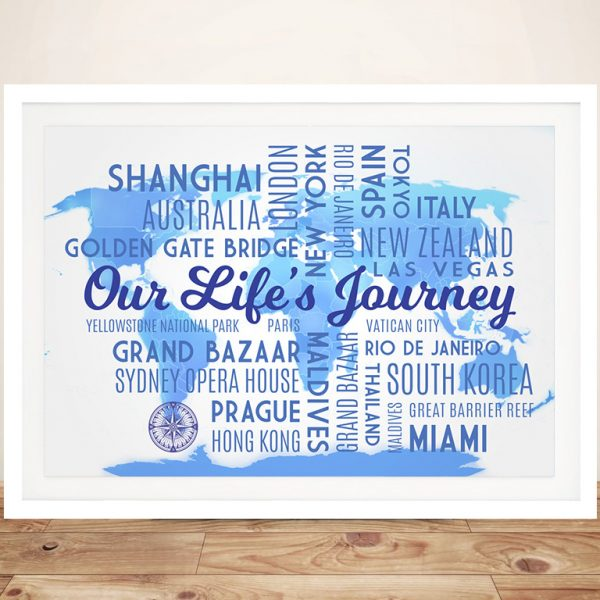 Personalized Sky Blue Travel Map