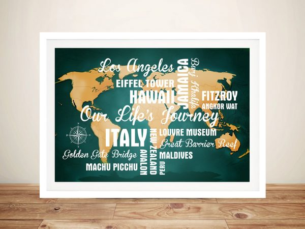 Personalised Dark Green Travel Map with Words Framed Wall Art