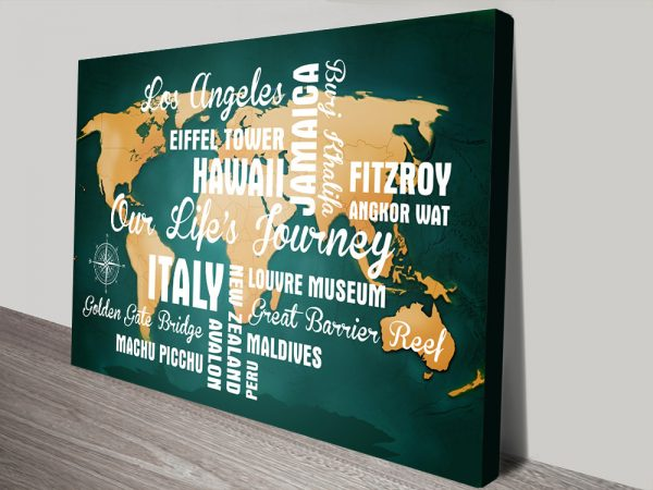 Personalised Dark Green Travel Map with Words