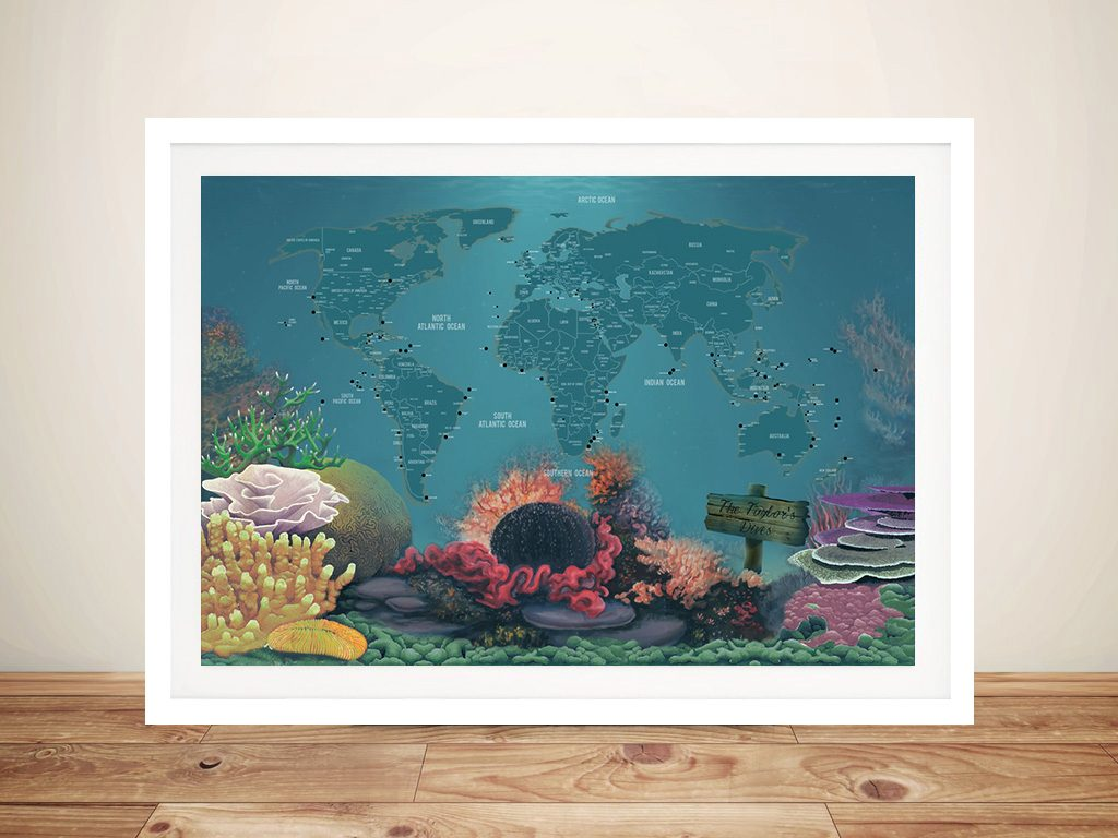 Bucketlist Diving World Map with Pins