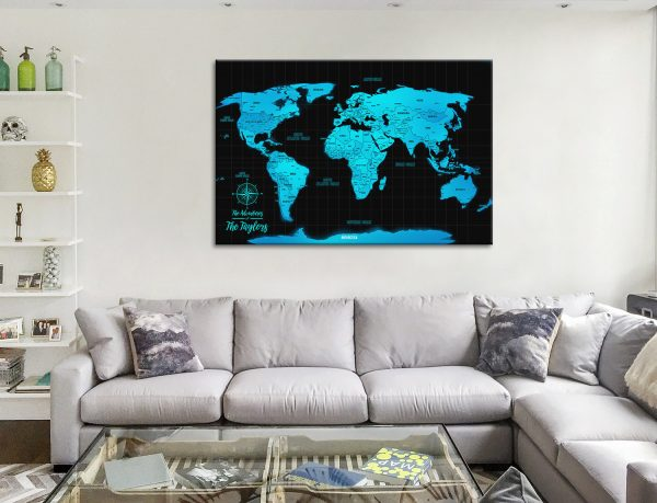 Personalised Blue PushPin Travel Map Canvas