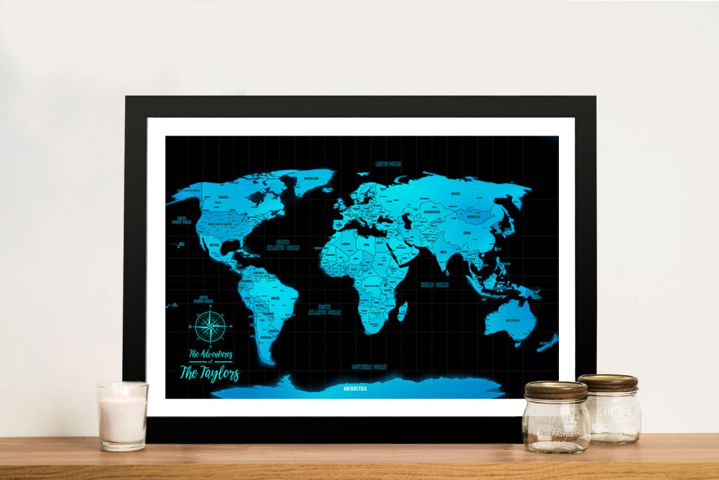 Electric Blue Push Pin Travel Map
