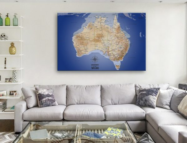 Australia Map Dark Blue Wall Picture
