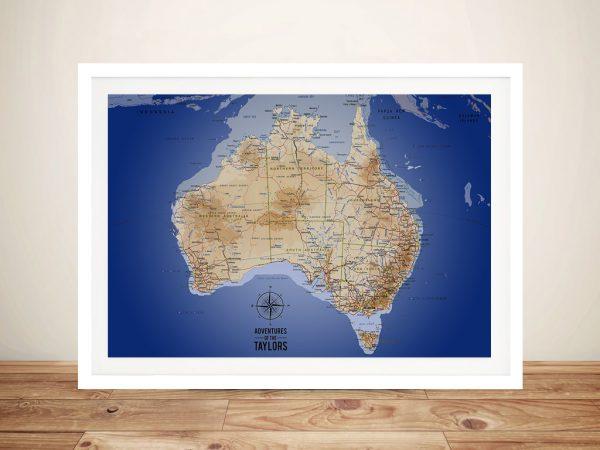 Australia Map Dark Blue Framed Wall Art