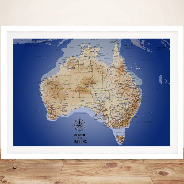 Australia Map Dark Blue Framed Wall Art
