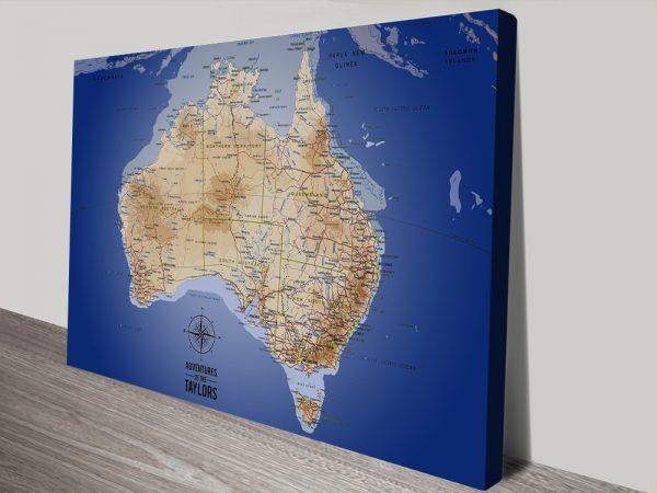Australia Blue Push Pin Map Canvas Print