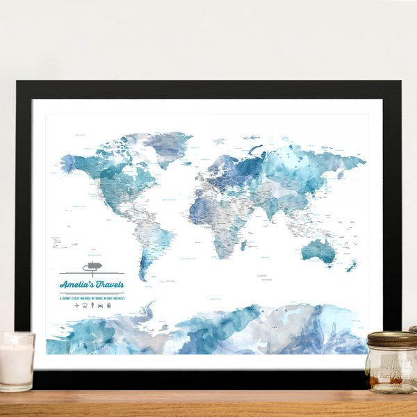 Personalised Blue Watercolour Pinboard Map