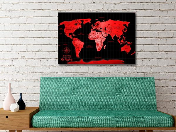 Personalized Red World Travel Map Canvas Artwork