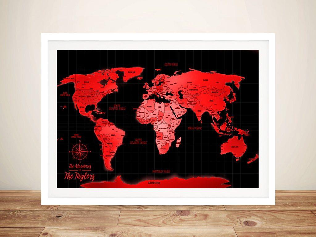 Neon Red Push Pin Travel Map