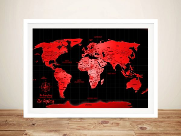 Buy Personalised Neon Red Push Pin Travel Map