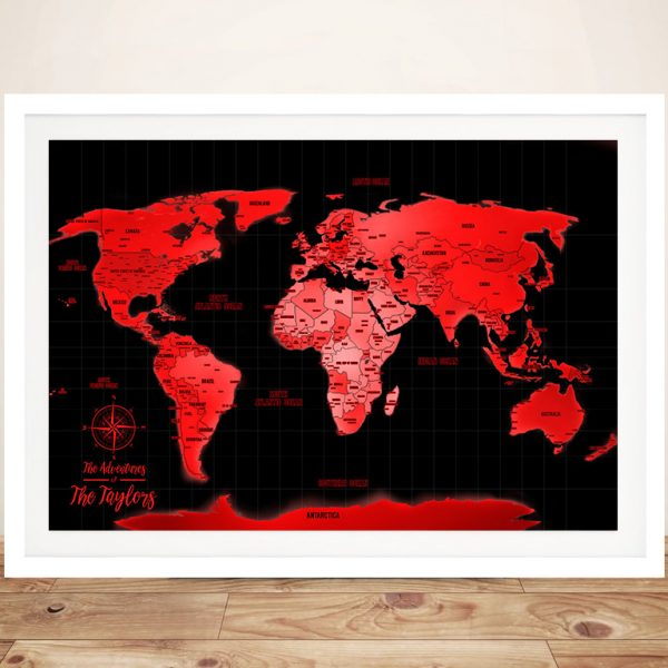 Buy Personalised Neon Red Push Pin Travel Map