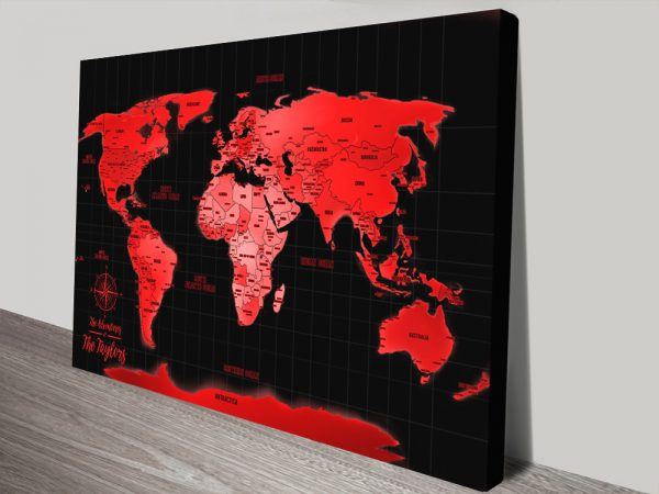 Bright Red Customised Map