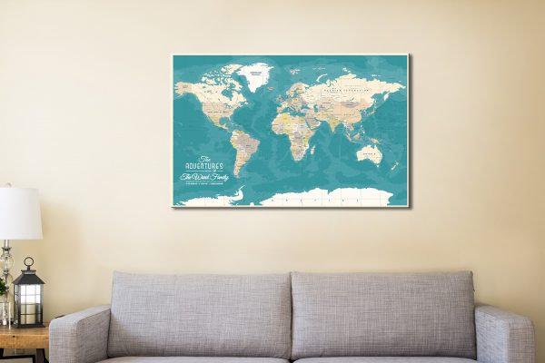 Green World Map with Pins
