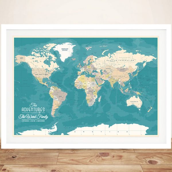 Personalised Oceanic Green Push Pin Map