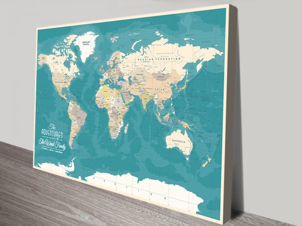 Custom World Map canvas pinboard