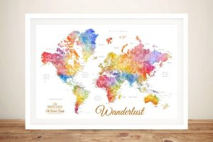 Watercolour Splash Push Pin World Map