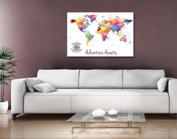 Custom Watercolour Splash World Map Canvas Artwork