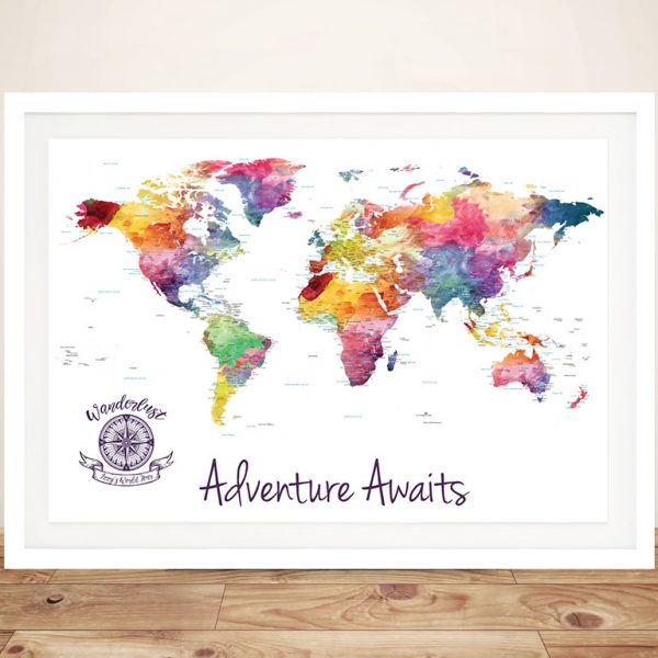 Personalised Watercolour Splash Push Pin World Map