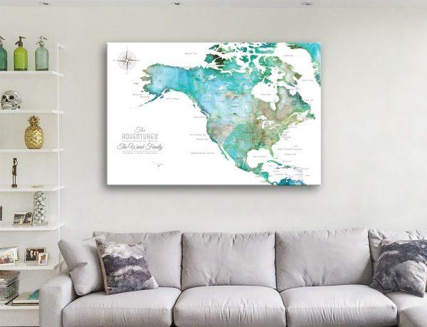 USA Push Pin Map Canvas Artwork