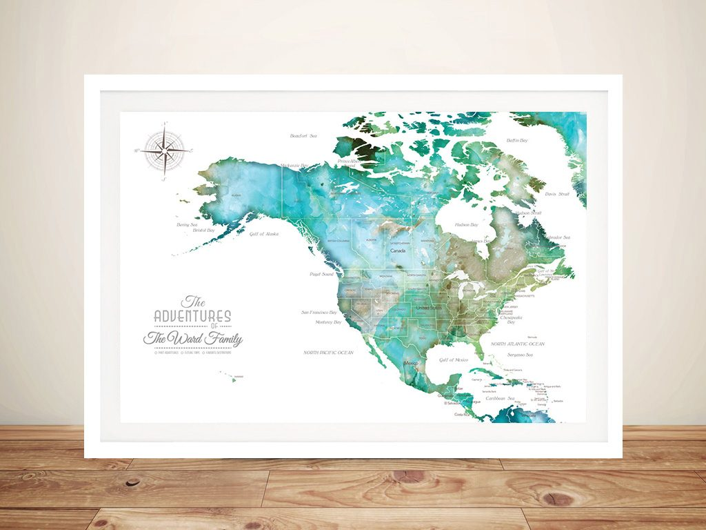 North America Green Watercolour Map