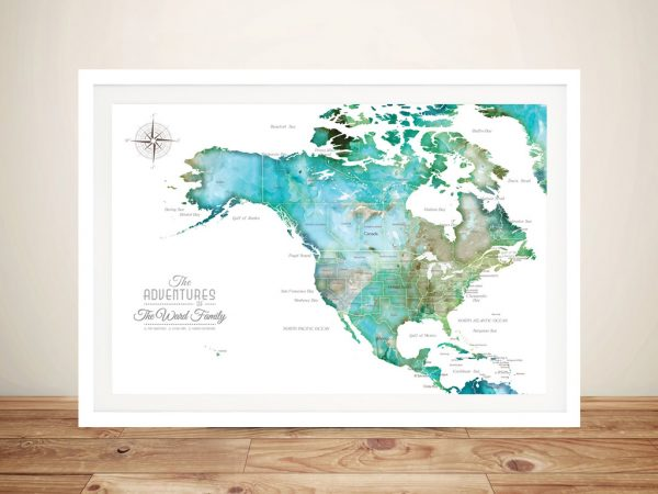 North America Green Tones Watercolour Pin Map