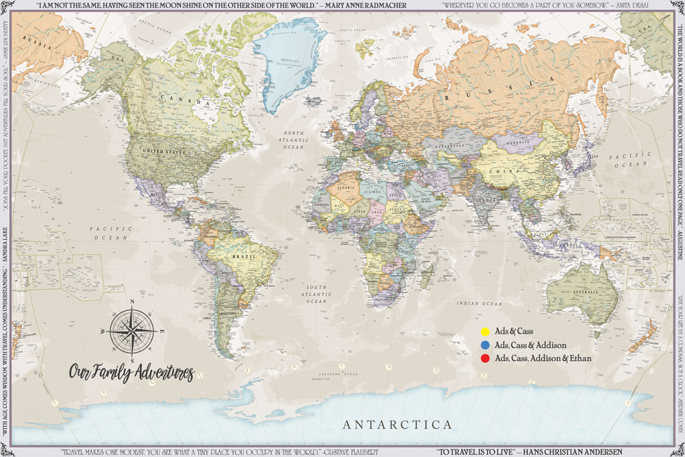 World Travel Map with Pins Online