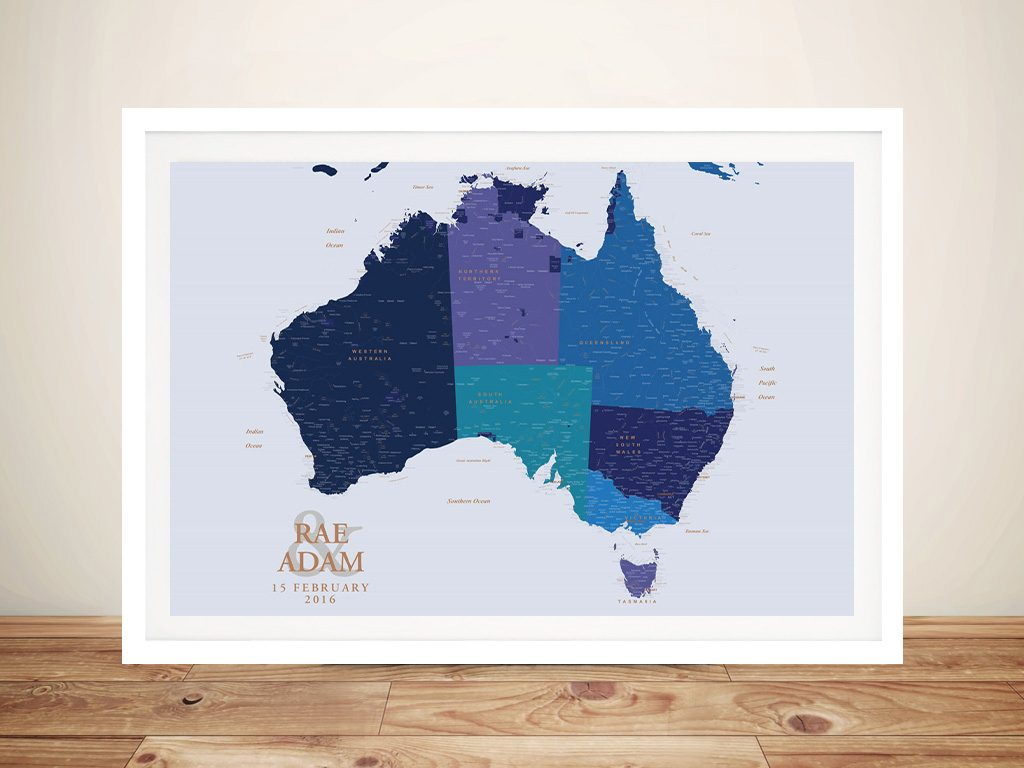Blue & Gold Australia Push Pin Map