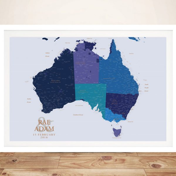 Buy Personalised Blue & Gold Australia Push Pin Map