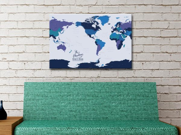 Pacific Centred Blue and Gold Map Canvas Print
