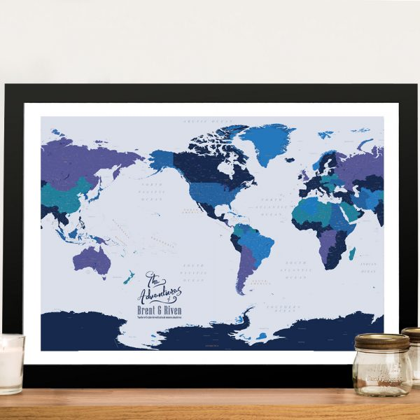 Blue and Gold Framed Map Art