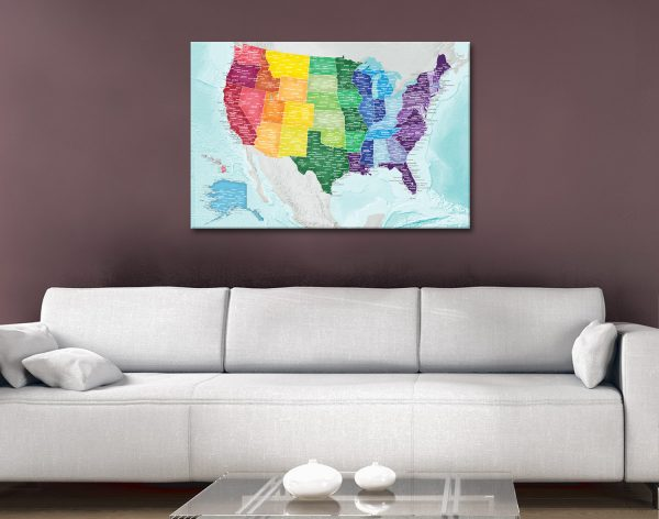Multicoloured Personalised USA Map Pinboard