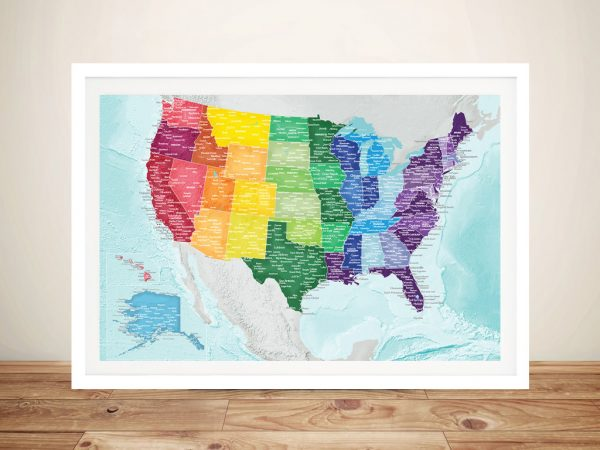 Multicoloured Personalised USA Map Wall Art