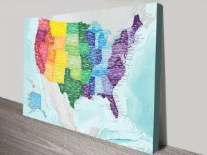 Multicoloured Personalised USA Map