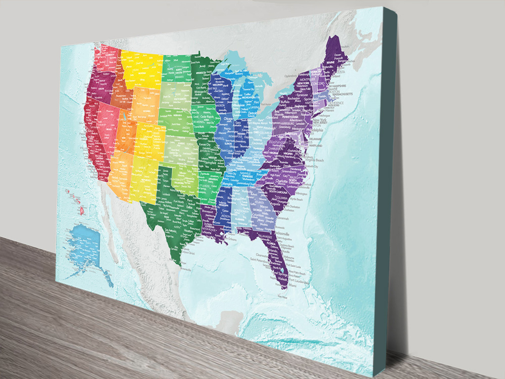 Multicoloured Personalised USA Map
