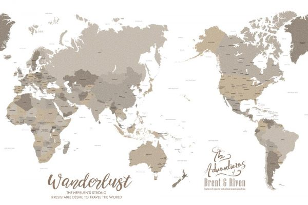 Custom Bronzed Pacific Centric World Map