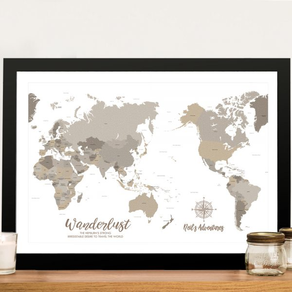 Bronzed Pacific Centric Framed Wall Art Map