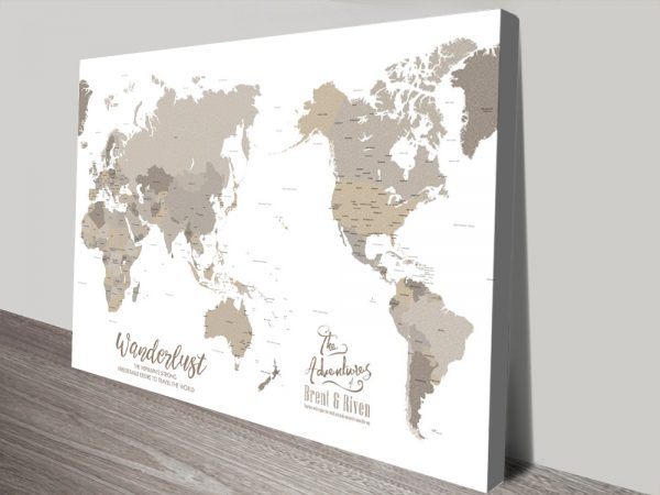Bronzed Pacific Centric Personalised Travel Map